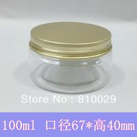 Wholesale 50pcs g PET Bottle Gorgeous Gold Aluminum Cap ml Transparent Plastic Container Cream Jar