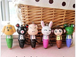 Wholesale Cute Stationery animal rollerball pens wood ball point pen phone chain pencil children s toys