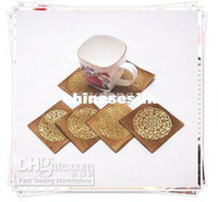 Wholesale Printed Designer Drink Coasters Silk Fabric sets set mix Color Free