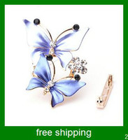 Wholesale South Korea style rhinestone butterfly scarf buckle and brooch Dual use