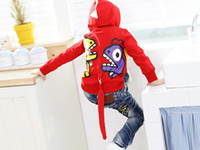 Wholesale 20pcs Children s Hoodies amp Sweatshirts boys B2W2 cute dinosaur Sweater with caps girls outerwear