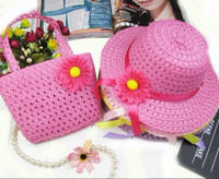 Wholesale 9 colours for choose sets Straw Baby Sun hat with Bag Kids Summer Hat Big Brim