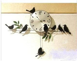 Wholesale Free ship Strong packing Mute Quartz Little Bird Wall Clock Home Decorative Craft three color black