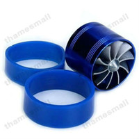 Approx. 2 x 2.5 inch / 5 x 6.4 cm Blue Turbochargers 2 pieces lot, New Universal Supercharger Turbo Air Intake Fuel Gas Saver Economic Fan Free Shipping