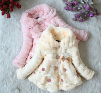 Wholesale 2013 Winter Y Children Coat Chldren Clothing Kid Girl Outwear Girls Pearl Bowknot Warm Coat WH1