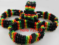 african style Charm Bracelets African 24xVintage Africa Style Colorful Hawaii Wooden Beads Bracelets Elastic Wood Bangle cuff wholesale