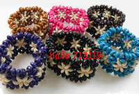 hawaii flower  Unisex Wood 24x hawaii flower style wooden beads charms elastic bracelets cuff bangles wholesale jewelry