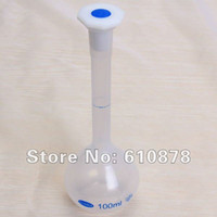 100ml 100ml Plastic flask - Free ship ml Plastic Laboratory Lab Volumetric Flask with Screw Cap Precise Measurement ml