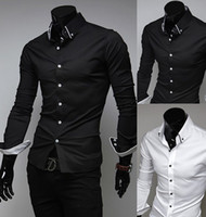 Wholesale 2014 New Men Suit Dress Shirts Style Black White Slim Fit Top Design Casual M XXL