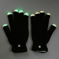 Wholesale 2015 Xmas gift DHL pairs Modes color changing flashing led glove for party black white for choice best2011