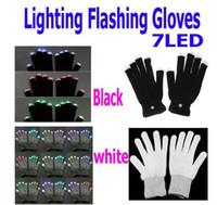 Wholesale 7 Modes LED Gloves Rave Light Finger Flashing Glow Mittens white black for Christmas party DHL best2011