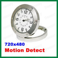 Wholesale Hot FPS Stainless Steel Table Clock Spy Camera Motion Detector Digital Video Recorder DVR