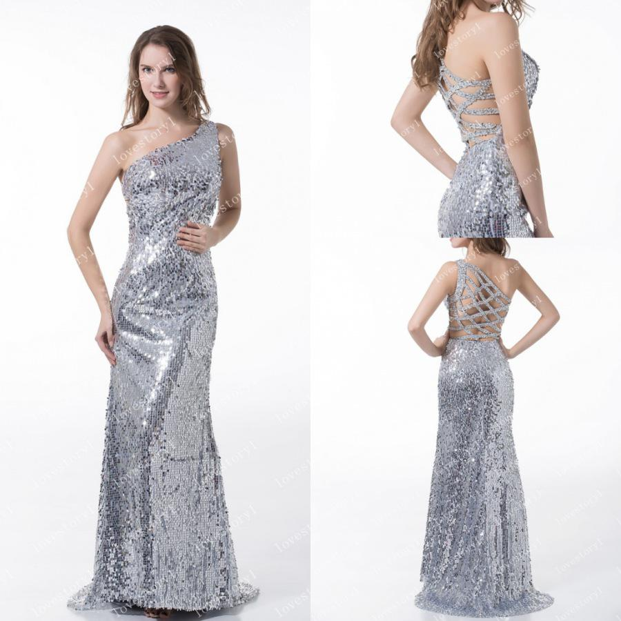 Dazzling Silver One Shoulder Sequins Hollow Back Mermaid Long Prom ...