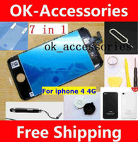 Wholesale 7 in For iphone g LCD touch screen complete back glass cover home button protector