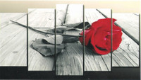 Unframed Canvas More Panel Impression Red Rose Group Oil Painting Pure Handmade Oil Painting Popular Five Pieces Art Painting