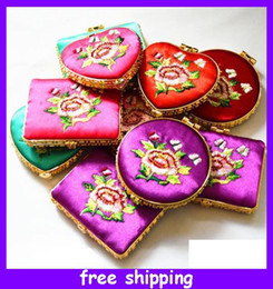 Wholesale Portable Makeup Mirror Compact Mirror China Silk Foldable Comestic Mirrors Wedding Favors