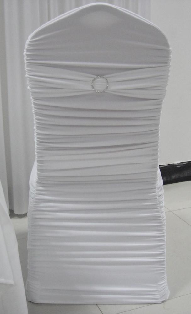 White Ruffle Spandex Lycra Banquet Chair Cover with Band And – Lycra Chair Covers
