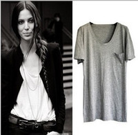 Wholesale European Style T shirt women s modal loose shirt V Neck W4018