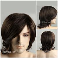 hair wigs for men - hot men hair wigs brown short wigs for men artistic men wigs natural looking hair wig ZL15