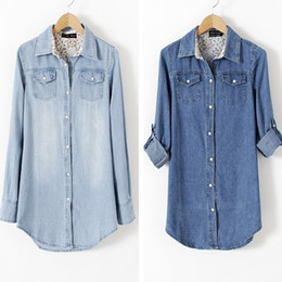 Wholesale Hot Sale Double Pocket Denim Shirt Lapel Collar Long Sleeve Solid Color Women Shirts ZHU112