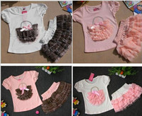 Wholesale baby clothes set kids sets girl bowknot basket pattern cotta T Shirt leopard print Layered dress