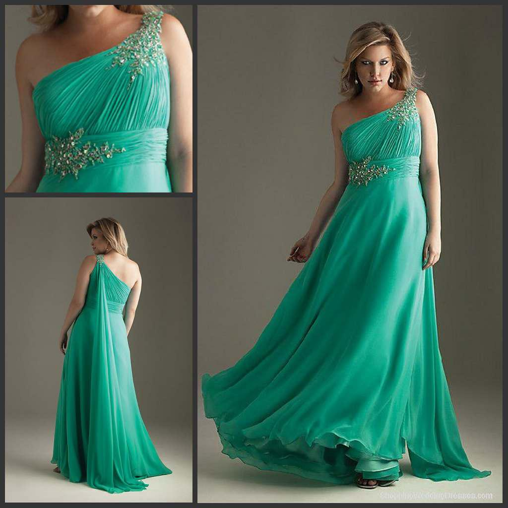 2014 Plus Size Evening Gowns For Women One Shoulder A Line Floor ...