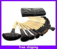 Wholesale 2013 Fashion Pieces Professional Makeup Cosmetic Brush Set Black Pouch Bag Leather Case Colors