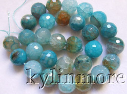 8SE09267a 14mm Fire Agate Faceted Round Beads 15''