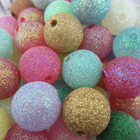 Wholesale 20mm Mixed Glitter Acrylic Powder Beads For Chunky Necklace