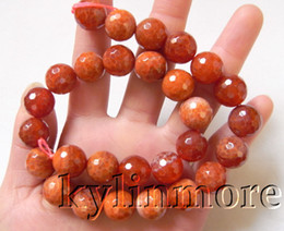 8SE08920a 14mm Fire Agate Faceted Round Beads 15""