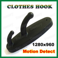 Wholesale HD Mini Spy Clothes Hook Camera With Motion Detection in Black FPS With Retail Packing