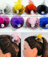 Wholesale Women Shining Mini Top Hat Feather Hair Fascinator Hot Design Colors Mixed Party