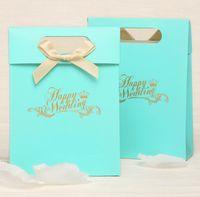 Wholesale Noble Beautiful Blue Wedding Bridal Favors Candy Party Boxes Favor wedding favor box bag B11