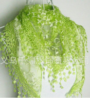 Wholesale WF Women s Shawl Lace flower triangle Tassels Printing scarves Multicolor