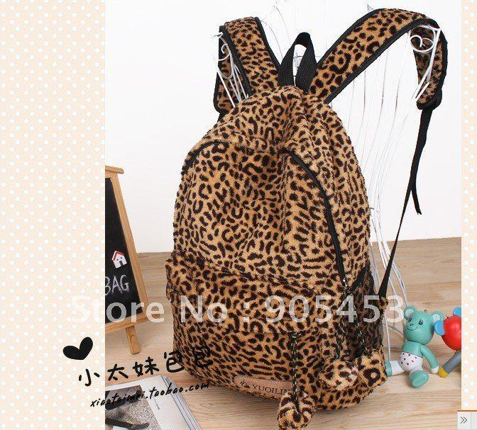 Free shipping leopard print backpack student school bag lovers men and ...