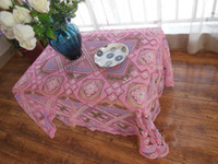 Wholesale Gorgous pink Crochet Lace Flower and Grid Design Table Cloth cm