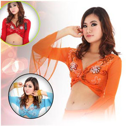 Wholesale Womens Sexy Casual Tribal Gypsy Belly dance costume Flower Embroider trumpet sleeve Tops