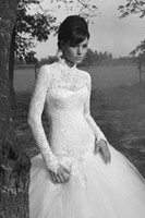 Wholesale 2013A Line Lace Long Sleeve Strapless Ruffers Ruffer Floor Length Wedding Dresses