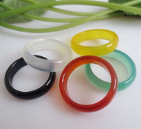 achat en gros de grande valeur-Une nouvelle Belle Lisse Multi-Coloré Rond Solide Jade/Agate Pierre Gemme Bande Anneaux 6 MM - une Grande Valeur!