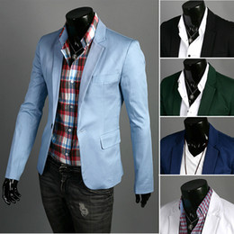 Wholesale Hot men s small suit solid color basic models a buckle leisure the cotton suit multicolor Slim