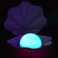 Wholesale best gift pearl shell night light led lamp shells colorsful nightlight