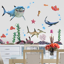 Wholesale Wall Stickers undersea world tropical fish Sharks kindergarten children room wall paste PVC