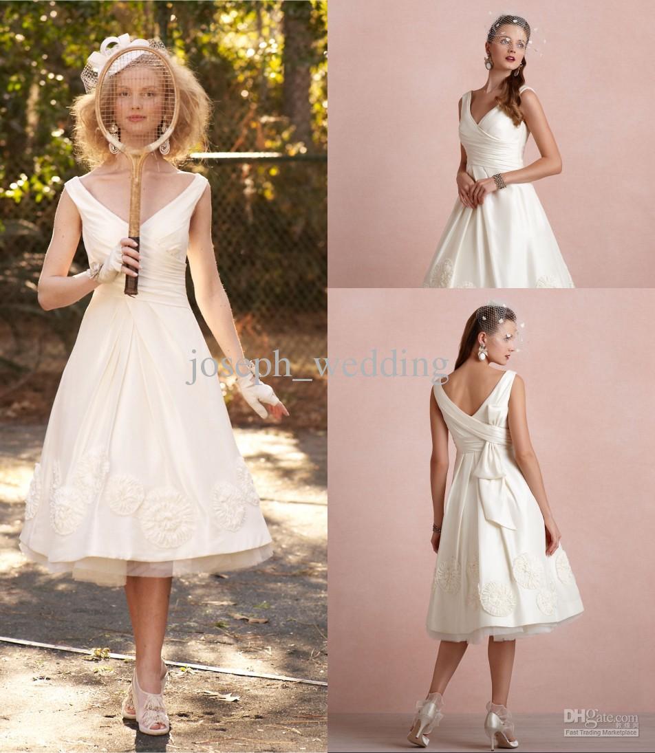 Designer A Line V Neck Cap Sleeve Corset Tea Length Wedding ...