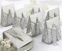 Wholesale Ribbons Wedding Favor Candy Boxes Silver Colour Wedding Party Gift Box