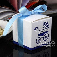 Wholesale Baby s favors Laser Cut Baby Carriage favor boxes favor Candy Boxes
