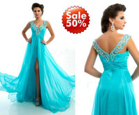 Reference Images V-Neck Chiffon 2013 Customized Aqua V-Neck Prom Dress A-Line Off The Shoulder Beaded Sequins Chiffon Long 6272L