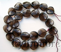 Wholesale 8SE01162a mm Smoky Quartz Wave Coin Beads quot DIY