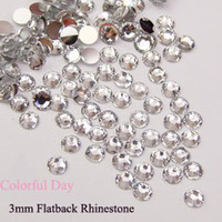 Wholesale 2000pcs Flat Back mm Bling nail art rhinestones in Clear Color with Silver Bottom