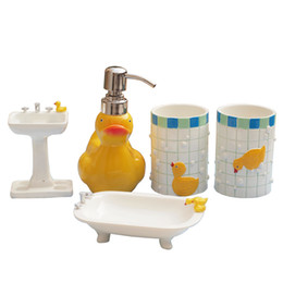 Cartoon Duck Wash Set Resin Bathroom Decoration Tooth Brush Holder Daily Necessities