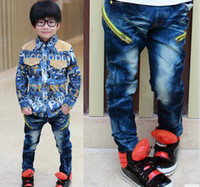 Wholesale boys jeans pants trousers unique zipper big pocket kids chldren jeans pants trousers wears